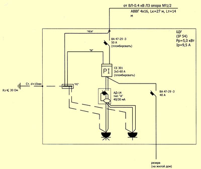 схема подключения элетроэнергии